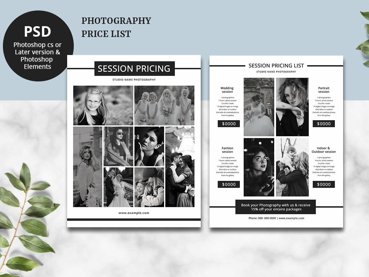 photography price list flyer template by mukhlasur rahman dribbble