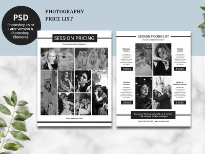 Photography Price List Flyer Template marketing pricing list flyer pricing template wedding photography photographer pricing guide photoshop template price sheet price list pricing flyer photography price list