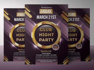 Multipurpose Party Invitation Flyer Template debuts debut photoshop template music event club invitation retro fashion acoustic flyer music party musical party night party party flyer