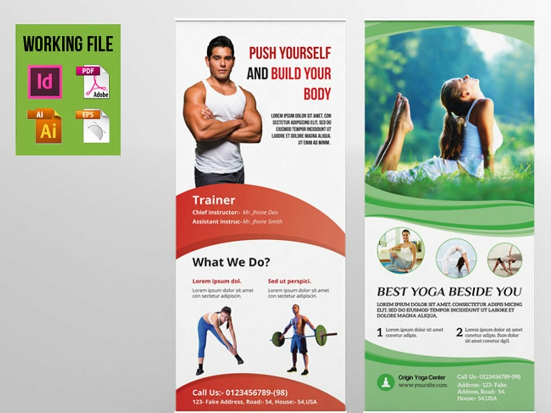 Gym, Health Club Roll-up Banner Template health club gym yoga rollup fitness rollup business rollup corporate rollup illustrator template indesign template banner template rollup template rollup banner roll-up rollup