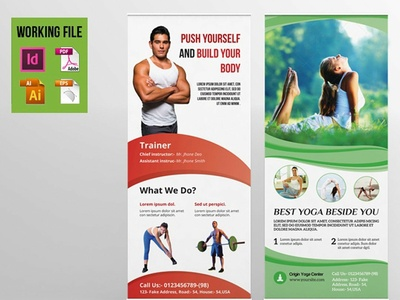 Gym, Health Club Roll-up Banner Template