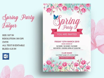 Spring Party Invitation Flyer watercolor flower spring festival spring poster ms word psd flyer printable flyer editable flyer poster photoshop template invitation flyer flyer template party flyer spring party