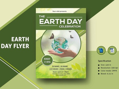 Earth Day Flyer Template nature planet earth earth day flyer earth day festival ms word psd flyer editable poster photoshop template invitation flyer flyer template party flyer