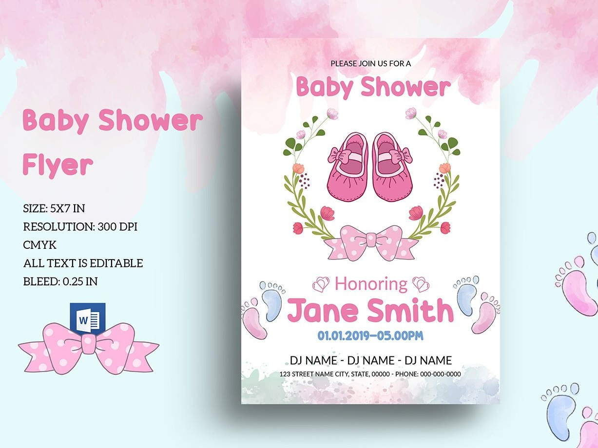 Editable Floral Baby Shower Invitation Template By Mukhlasur