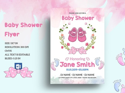 Editable Floral Baby Shower Invitation Template boy girl baby shower editable baby shower bany shower invite shower invitation baby shower party flyer template word template announcement customizable invitation template