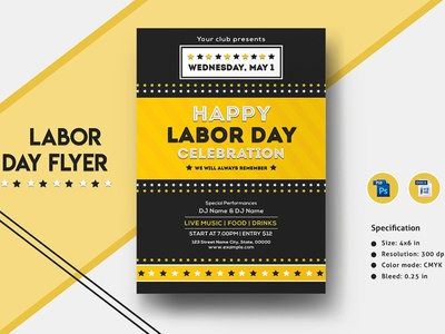 International Labor Day Flyer Template invitation template ms word template photoshop template flyer design party flyer celebration 1st may labor day 2019 labor day labour day