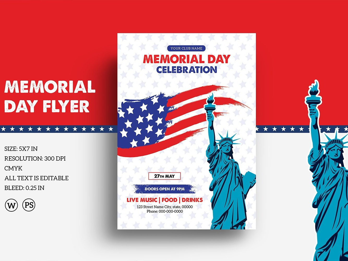 graphic regarding Closed Memorial Day Sign Printable named Us Memorial Working day Flyer Template by means of Mukhlasur Rahman upon Dribbble