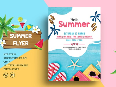 Summer Party Flyer printable word template summer poster summer flyer photoshop template invitation flyer flyer template party flyer summer festival summer party