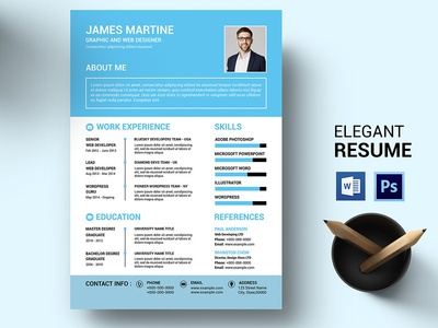 Clean Resume template clean modern design resume photoshop template professional resume clean and minimal curriculum vitae one page resume cv design creative resume cv template resume template