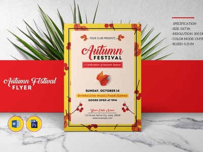 Autumn Festival Flyer Template ms word template photoshop template fall flyer autumn party fall party festival flyer autumn festival print template flyer template party flyer template fall flyer template