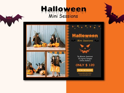 Halloween Mini Session Template halloween photo card photography card photoshop template halloween template photography board mini session flyer halloween photography session mini session marketing board halloween marketing