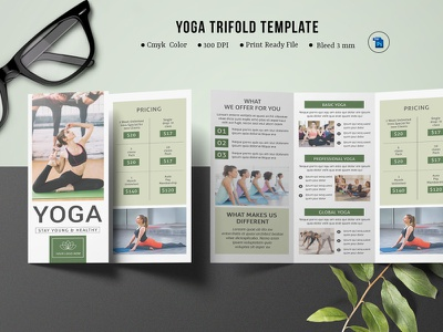 Yoga Trifold Brochure Template printable editable yoga brochure gym club elements template yoga trifold brochure photoshop template marketing health club fitness center gym fitness