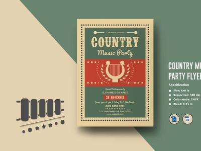 Multipurpose Music Party Invitation Template editable printable barbecue barbecue party poster ms word photoshop template party flyer music party night party