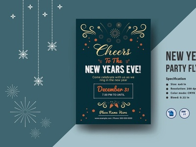 New Year Party Flyer Template new year poster invitation template new year eve flyer new year flyer holiday party ms word photoshop template invitation card invitation party party flyer new year party
