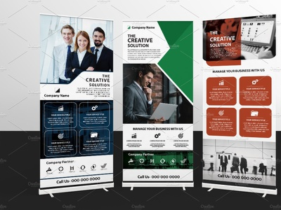 Business Roll-Up marketing advertising corporate business illustrator template rollup banner banner rolllup business roll-up