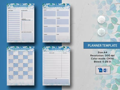Planner Template floral planner planner calendar happy planner ms wod photoshop template planner insert to do list monthly planner weekly planner daily planner personal calendar planner template