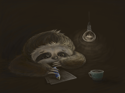 A hardworking sloth sloth illustration wacom digital painting