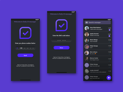 Daily UI #013 - Messaging app design 3rd color purple morphism message app ux dobe xd dark mode sketch figma dailyui ui