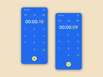 Daily UI #014 - Timer UI challange bold colors stopwatch app design yellow blue pop color dobe xd sketch figma ui 14 dailyui timer mobile app mobile