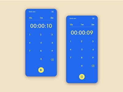 Daily UI #014 - Timer UI challange bold colors stopwatch app design yellow blue pop color dobe xd sketch figma ui 14 dailyui timer mobile app mobile