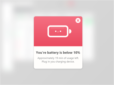 Daily UI #016 - Pop up message minimalistic recharge mobile illustration app design dobe xd figma low battery connect charhing battery icon red uiux dailyui dailyui016 popup window popup