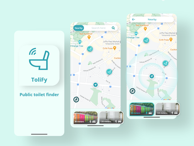 Public toilet finder App - #UI Coach logo skeuomorphic morphism minimalistic app deisgn fresh colors mint green dailyui figma dobe xd sketch ui ux mobile app ui toilet search app
