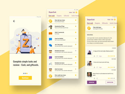 Cash and free Gifts app - UI/UX mockup morphism finance gifts coupons purple mobile app yellow wallet ui money app app design ux dobe xd sketch ui figma dailyui