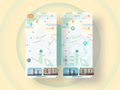 Location tracker App - Daily UI #020 2021 morphism map building mobile app ui orange yellow cyan 20 location tracker tracker app tracker sketch ui figma dailyui