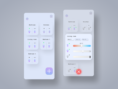 Home monitoring dash - Daily UI #021 2021 trend morphism dailyuichallenge uxdesign figma sketch mobile uiux app design humidity smart home app 21 dailyui mobile ui light control temperature control smart home monitoring dashboard home app