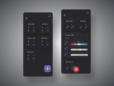 Smart home dashboard - Daily UI #020 control light morphic morphism dark mode dark ui purple mobile ui 2021 trend uiux home monitoring temperature darkmode dashboard ui app smarthome sketch figma dailyui