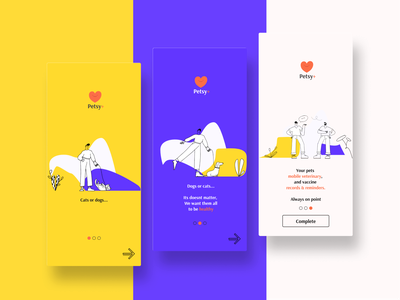 Pets care app - Daily UI #023 skeumorphic 2021 purple yellow bold colors minimalistic dog illustartion illustration tredny morphism figma ui dobe xd dailyui veterinarian health care dog cat pets