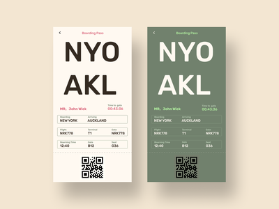 Boarding pass - Daily ui #024 mobile design challange qr 024 3d color ux ui natural colors earthy bold typography plane ticket modern minimalistic simple clean interface ticket eticket boarding pass mobile ui dobe xd figma dailyui