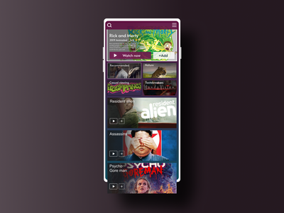 Streaming shows app - Daily UI #025 daily ui 025 025 dark colors morphism mobile ui netflix streaming service tv series streaming tv app minimalistic ux ui dobe xd figma dailyui