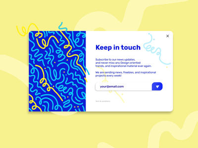 Subscribe - Daily UI #026 web ui material ui flatdesign skeumorphism modern simple funky blue yellow bold colors email subscribe form subscribe popup ui illustration minimalistic dobe xd figma dailyui