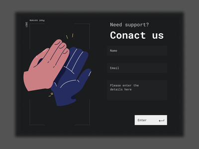 Contact us - Daily UI #028 illustration bold font sketch adobe xd grey yellow web ui dark mode uiux minimalist figma ui coach daily ui 028 28 support form support page contact form contact us dailyui