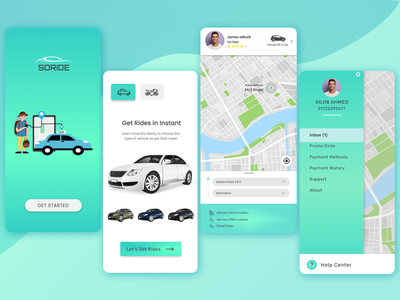 Soride Ride Sharing App Design 2021 design website vector travel graphic art illustration minimal graphic design design clean app design app