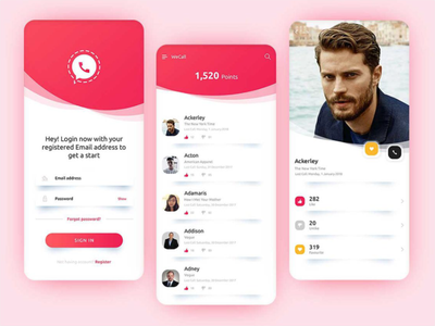 A new experience of calling app with an astonishing profile page app graphic design app design design ui  ux login page login ui login design