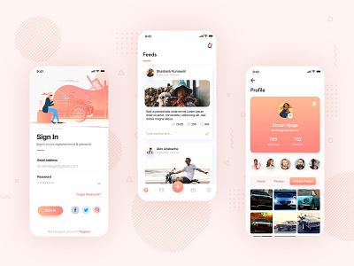 Mobile App: Social Media UI/UX design 2021 socialapp social media app minimal design ui figma instagram facebook ui  ux mobile app smm