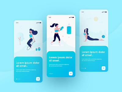 Fitness & Workout Training App xd illustration interface walkthrough onboarding uiux health wellness activity exercise design mobile app ux ui app training workout fitness