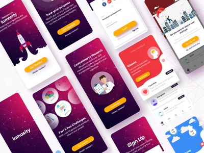 Lumosity Walkthroughs onboarding walkthrough uiux vector app design illustration graphic design ux ui app design
