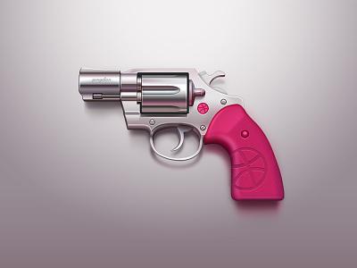 hello dribbble invitation handgun gun icon ui