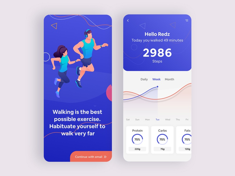 Fitness Activity App trend design mobile app statistics healthcare health blue ux design ui ios interfacedesign tracker activity dashboard app dashboard dailyactivity fitness fitness app