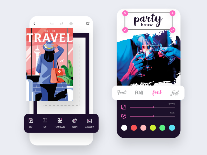 Poster Maker - Edit Page user research user experience poster maker app illustration post font editor edit page ios app live product problem solving product design ui design poster art poster design live app template creator creators poster creator poster maker poster