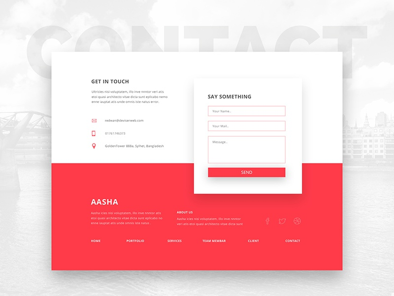 Contact Section footer send message red contact section colorful shadow psd web contact