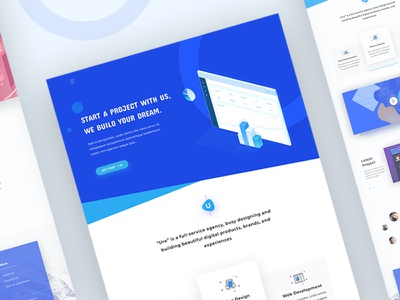 Creative Agency Landing Page illustration psd template creative exploration stratup web desing trend minimal blue landing page ui web design business agency