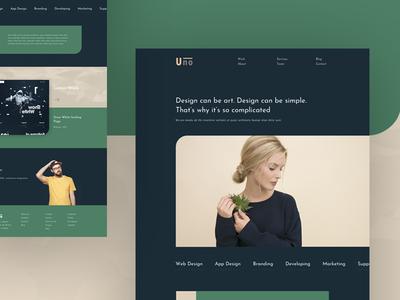 Uno Agency Landing Page 2 web design services simple trend green dark uno agency ux app ui psd template agency landing page creative exploration design web