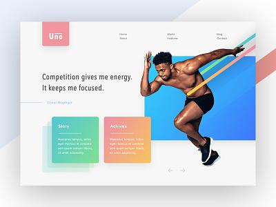 Experimental Design quotes hard working work gradient running ui header web design agency colorful landing page creative exploration design web