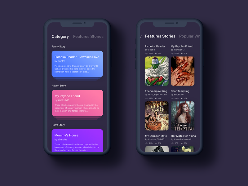 Story App experimental action story funny story horror story ui design app design story app story telling story dark dark app application design app exploration ux ui