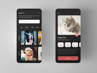 Dark App for Pets Adoption and Donation