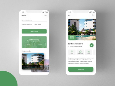 Hotel Booking App colour typography room booking green mobile app travel app trend iphone ios interface booking hotel booking hotel app hotel travel app exploration design ux ui